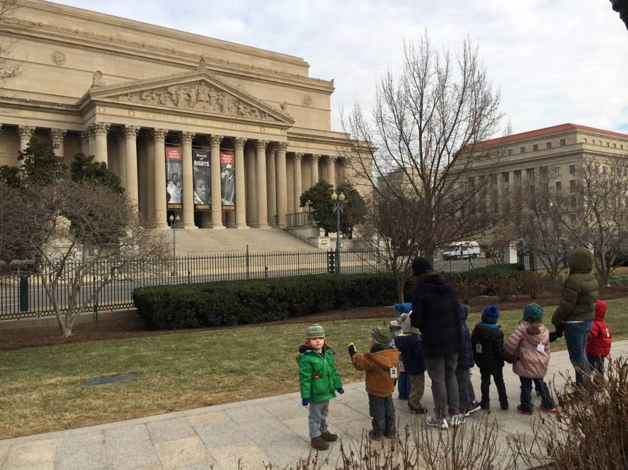 The kids get a chance to see the real thing at the National Archives.