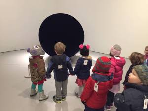 Visiting the Hirshhorn as part of their study of light and dark.