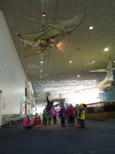Three year olds examining Michelangelo's Flying Man at the National Air and Space Museum as part of their study of the real artists that inspired the Teenage Mutant Ninja Turtles.