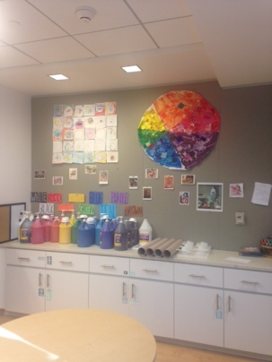 Our colorful art studio welcomes friends and features student work along with artists in nearby museums.
