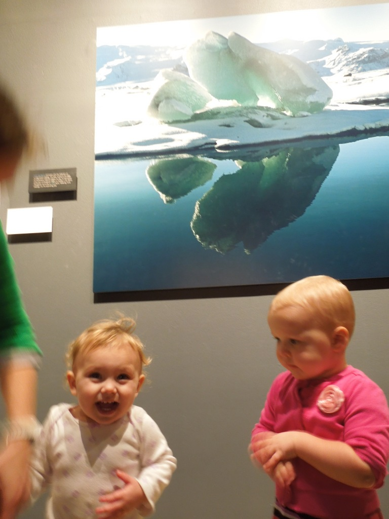 Toddlers standing underneath photograph of Arctic landscape.