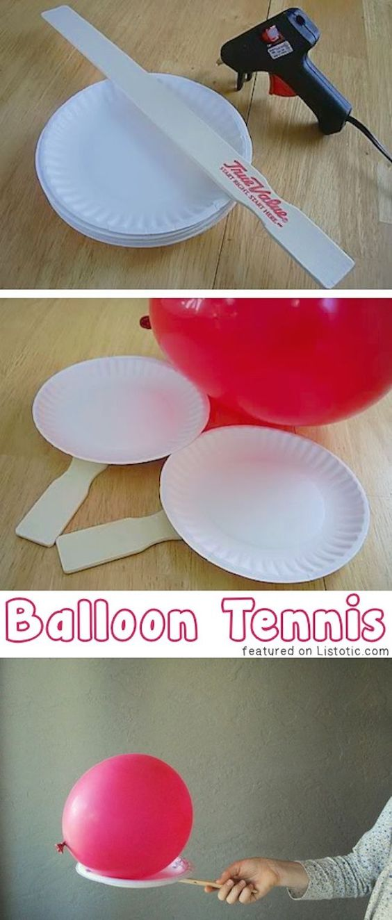 A series of photos depicting how to create the materials for balloon tennis. Photo one shows paper plates, a paint stirrer and a hot glue gun. Photo 2 shows two plates with a paint stirrer attached and a blow up balloon. Photo 3 shows a hand holding a paint stirrer with a plate attached and a balloon balanced on top.
