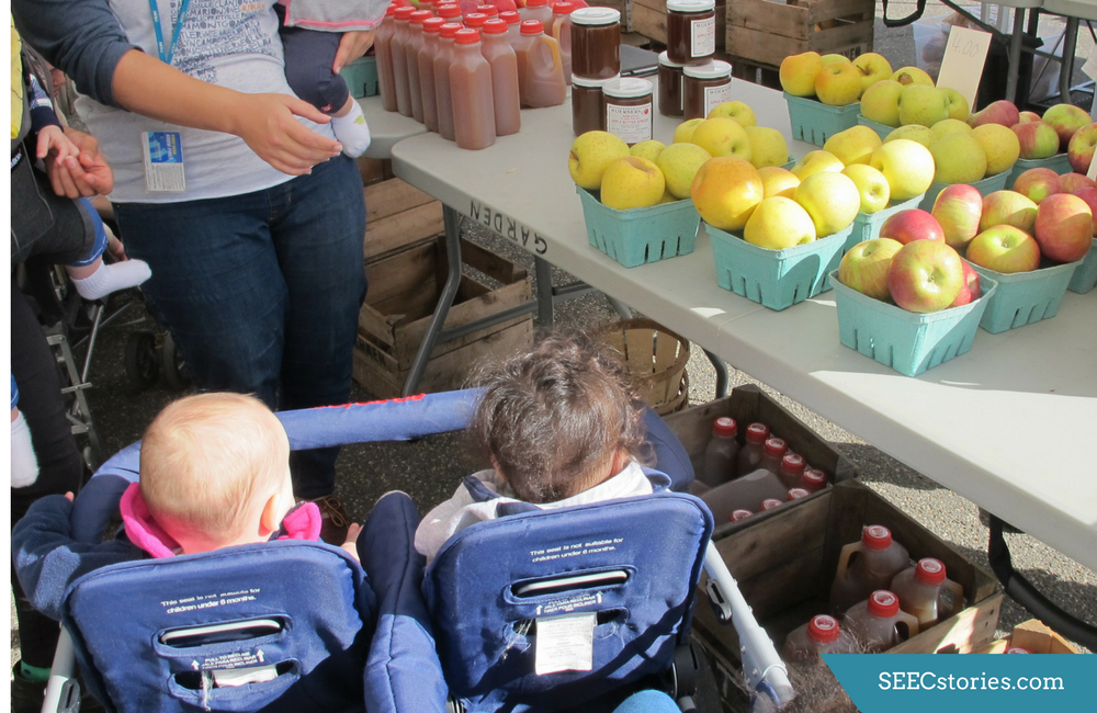 Children in a stroller looking at several baskets of apples