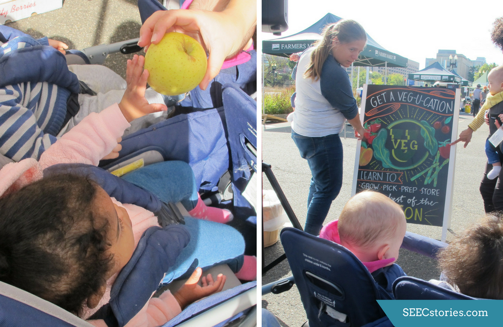 Image on the left is a child in a stroller reaching for an apple Image on the right is teachers pointing at a sign about vegetables