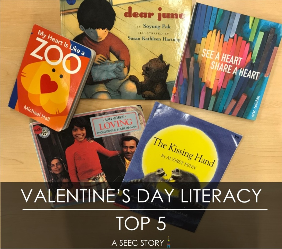 Graphic featuring children's books, Valentine's Day Literacy