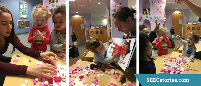 Series of 3 photos showing children reading and playing with hearts.
