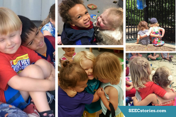 Several photos of children showing affection towards each other.