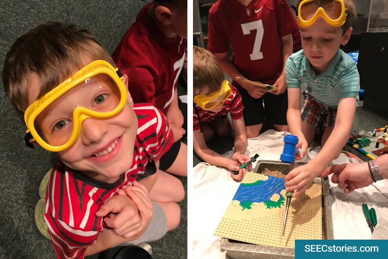 Children wearing googles pretended to excavate